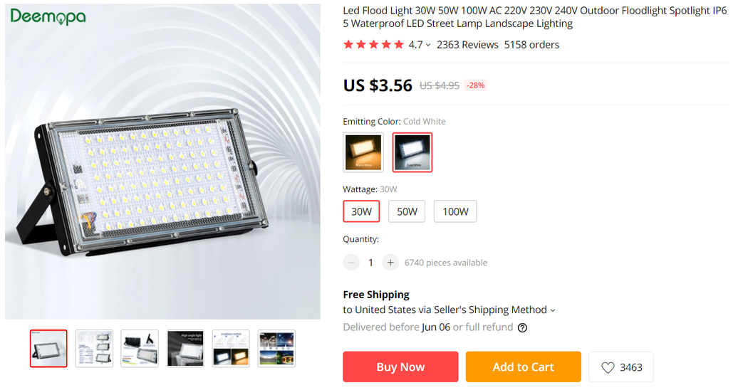Outdoor LED Spotlight on AliExpress