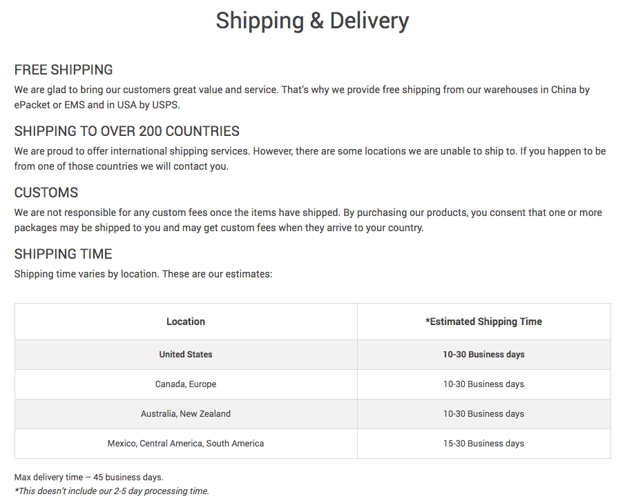 The shipping and delivery terms page you need to modify before AliExpress Chinese New Year