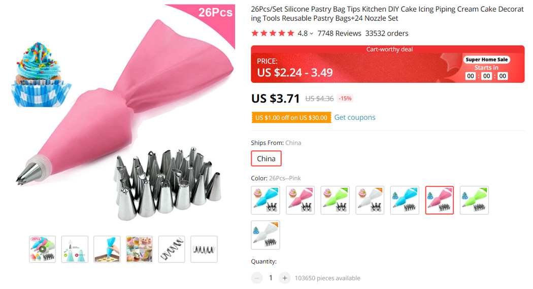 Silicone Pastry Bag on AliExpress