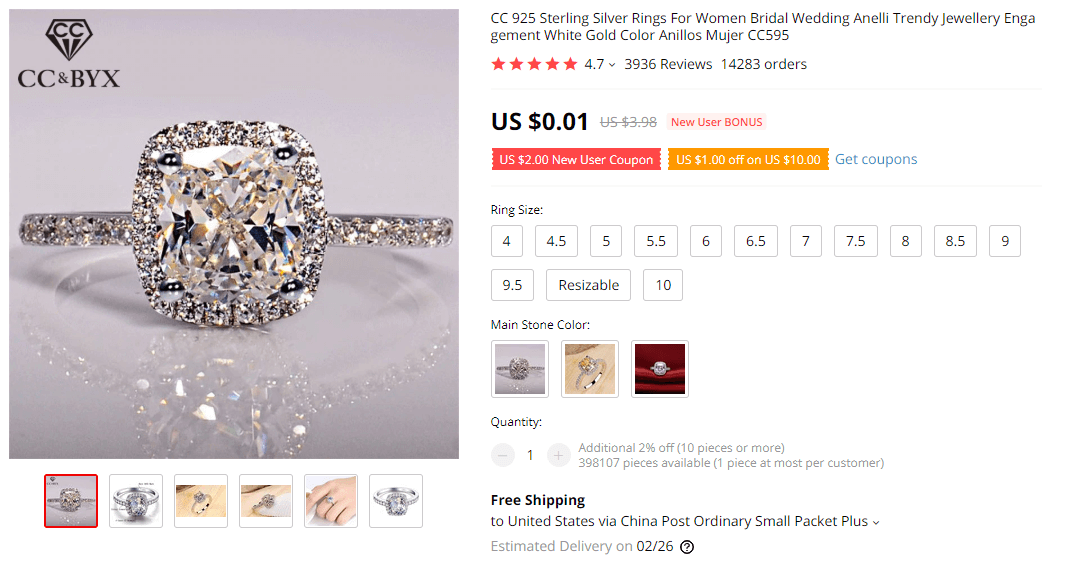 Silver Ring for Women on AliExpress