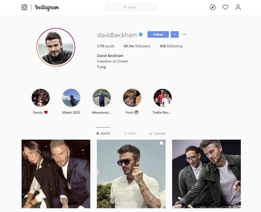 david beckham on instagram