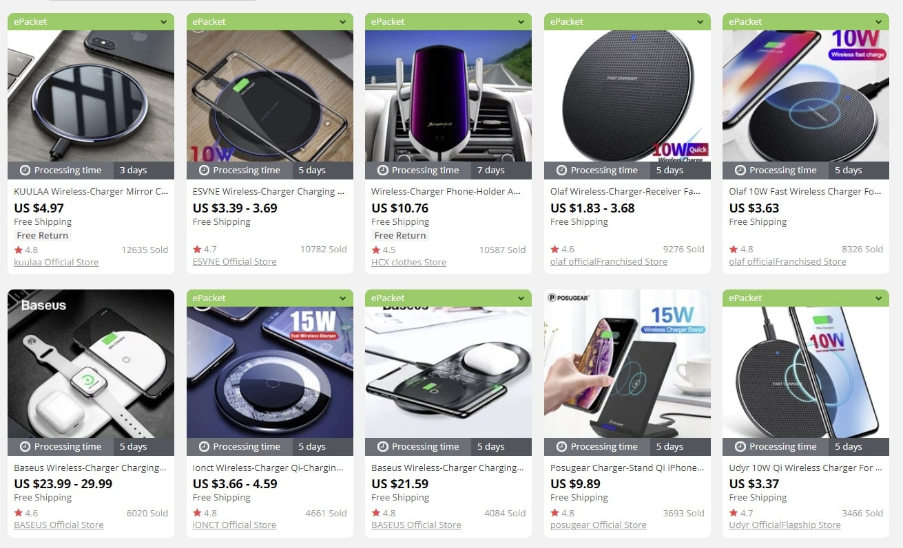 an image that shows best wireless chargers to dropship for profit