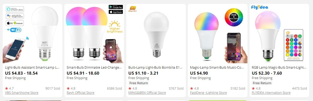 an image showing smart bulbs as trending products to sell online