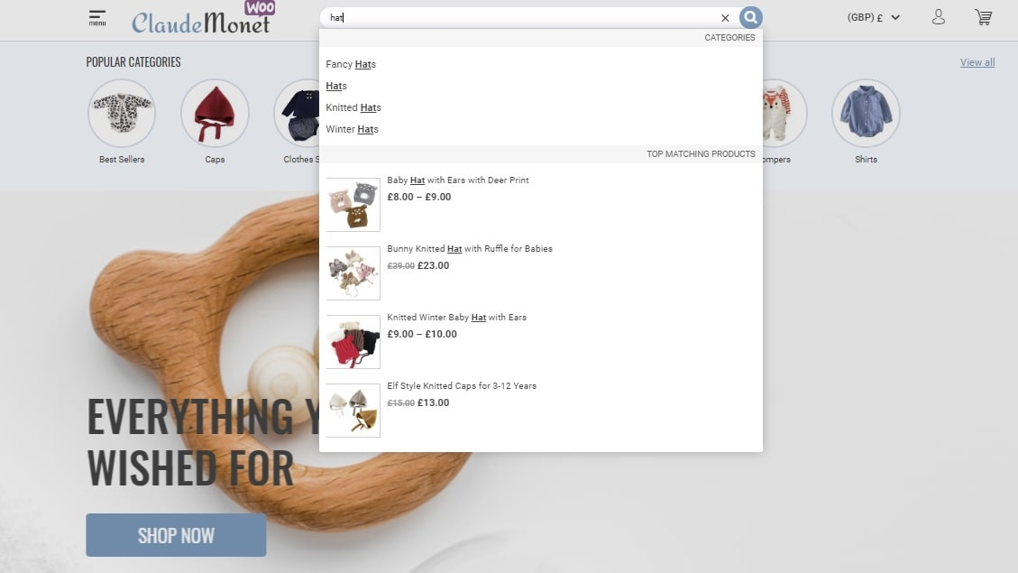 smart search woocommerce theme
