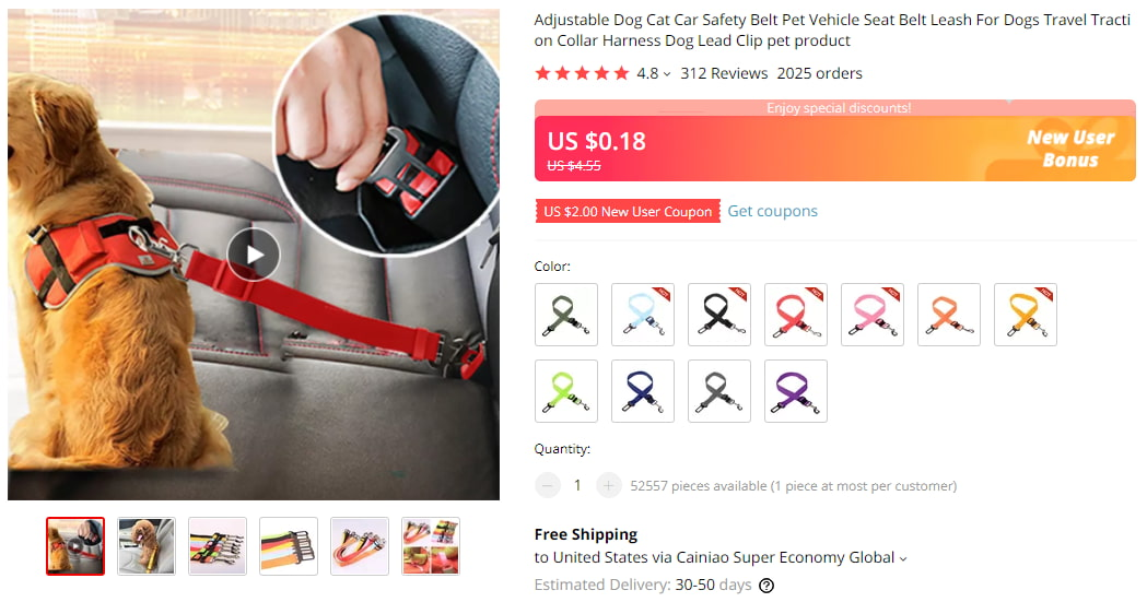 Car seatbelt for dogs on AliExpress