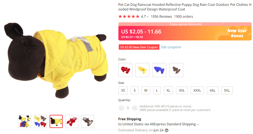 Best pet products to dropship: yellow dog raincoat