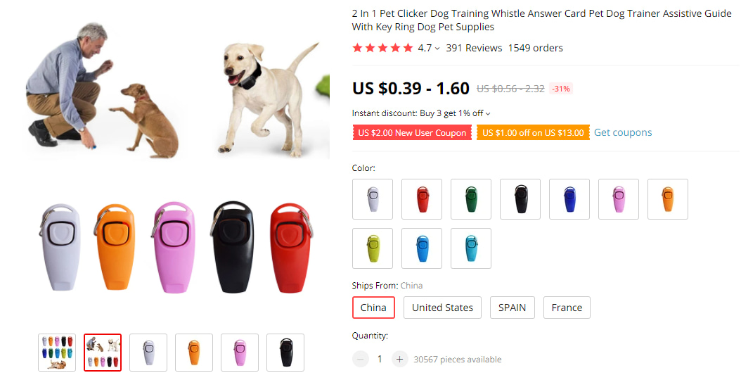 Dog Training Whistle & Clicker on AliExpress