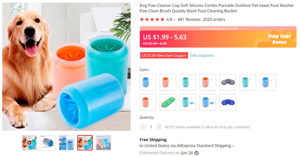 Dog paw cleaner on AliExpress