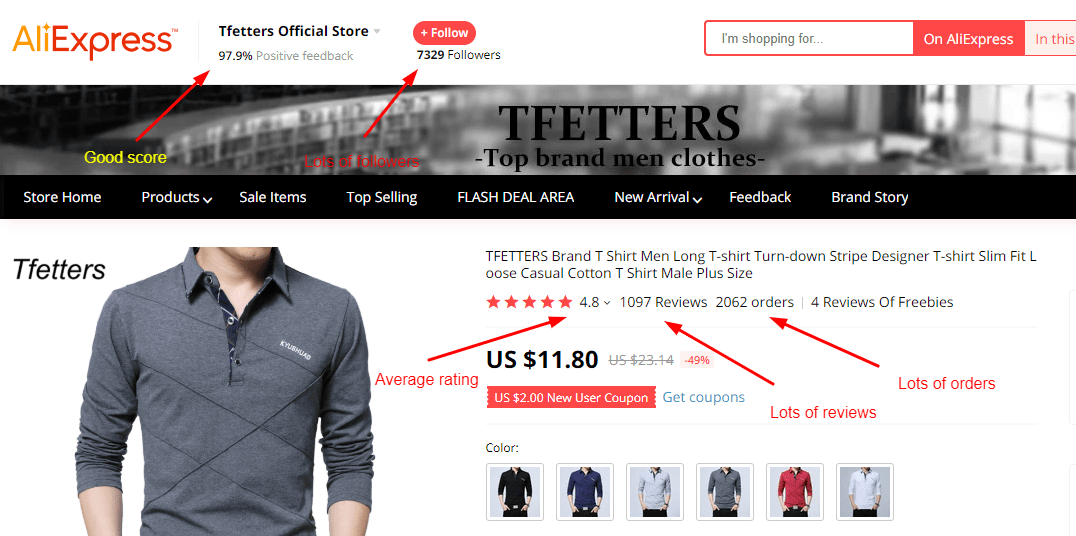 Screenshot of an AliExpress product page with highlighted elements you should pay attention to in order to guarantee a safe shopping experience