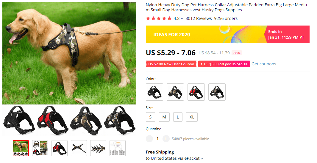 Nylon dog harness on AliExpress