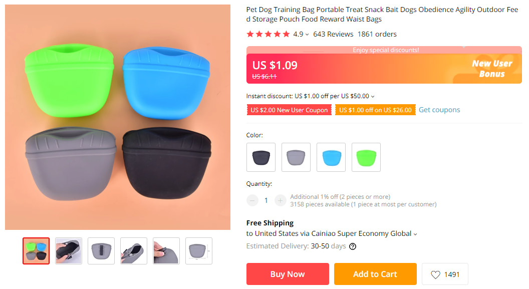 Dog treat pouch on AliExpress