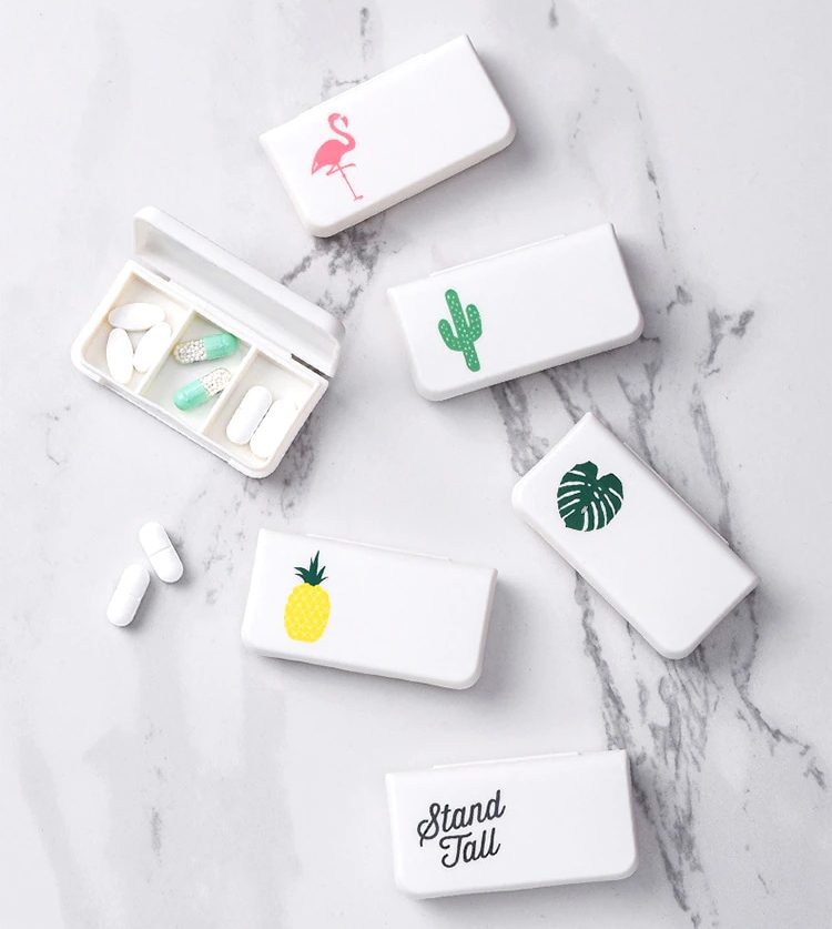 6 portable pill cases with cute drawings