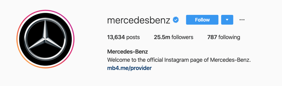 Mercedes-Benz using their logo as an Instagram avatar