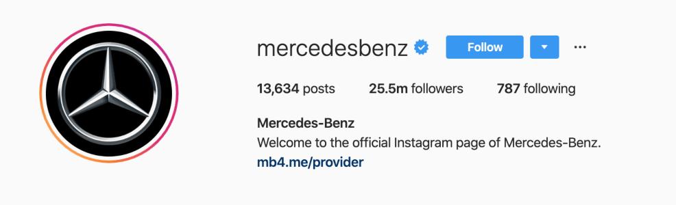 Mercedes-Benz using their logo as an Instagram avatar