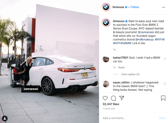 BMW using a unique hashtag for their Instagram post