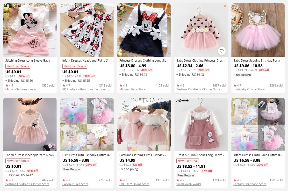 a picture showing that baby clothing is one of the best things to sell in an online store