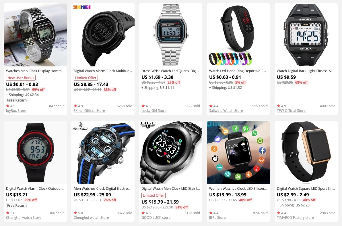a picture showing how much digital watches cost