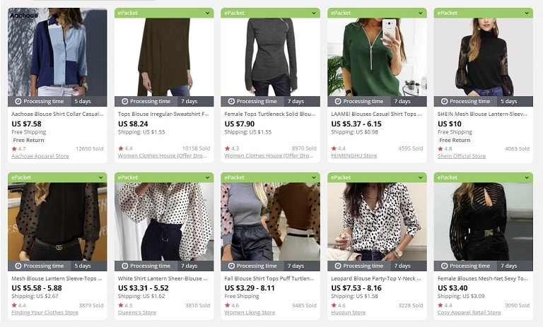 a screenshot showing how much popular clothes cost online