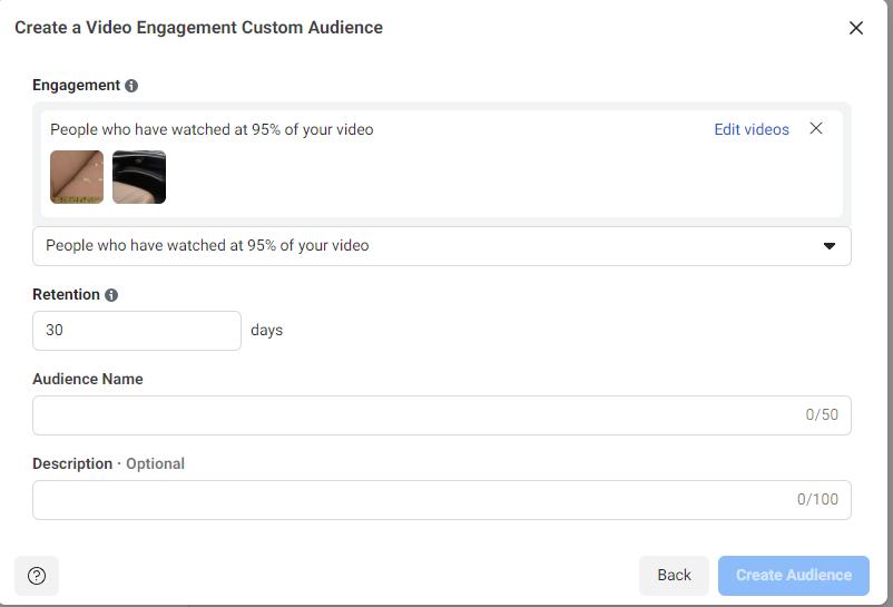 Custom Facebook audience consisting of video viewers