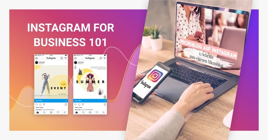 A person using Instagram for business with a laptop and a smartphone