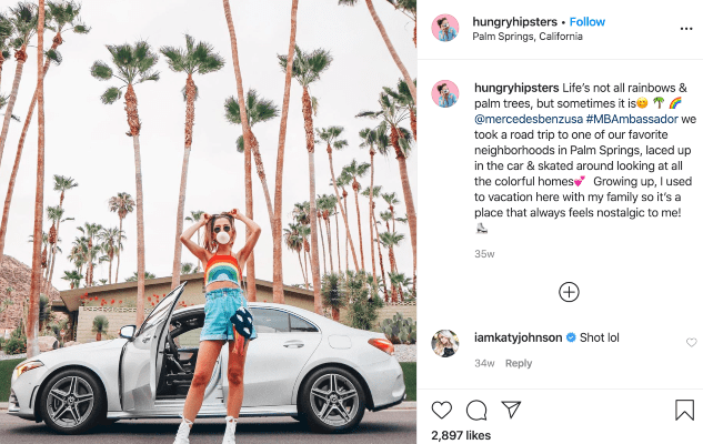 Influencer Hungry Hipsters gives a shoutout to Mercedes-Benz