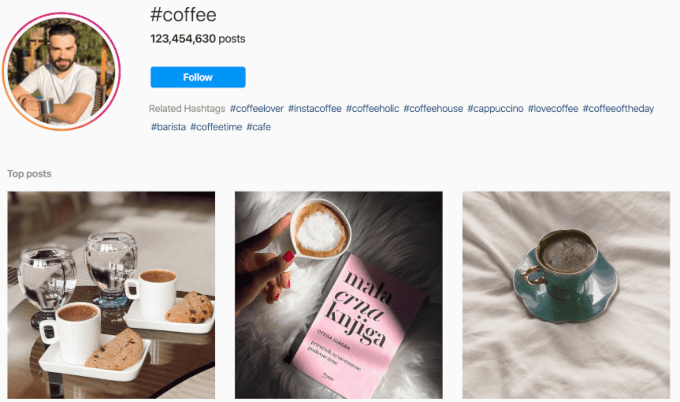 "Example of researching keywords for ""coffee"" on Instagram"