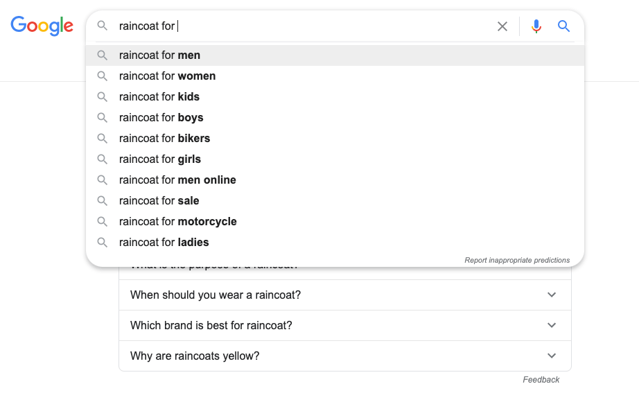 a picture showing how to find niche products with google suggestions