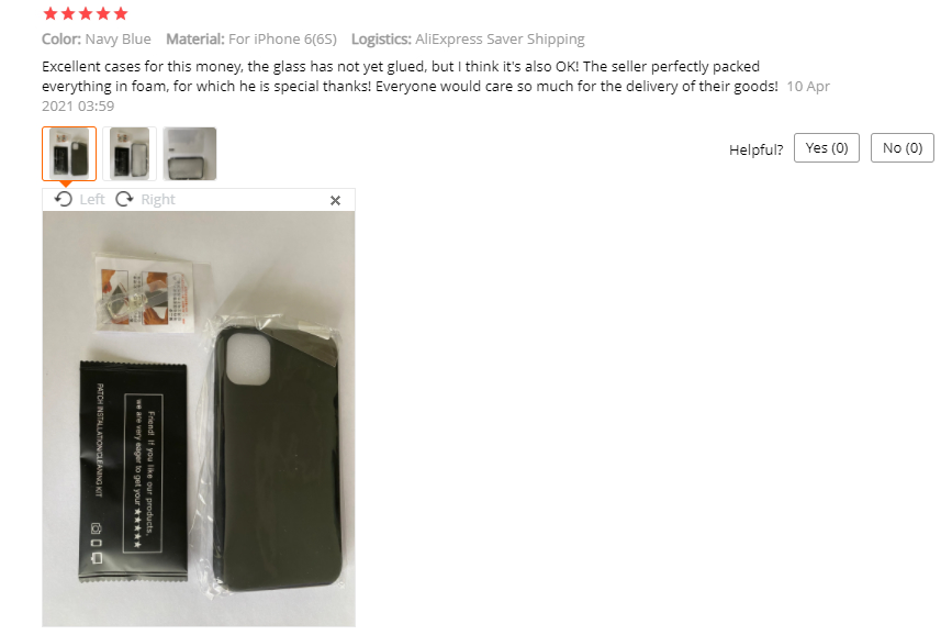 A customer review on AliExpress with a photo of a product.