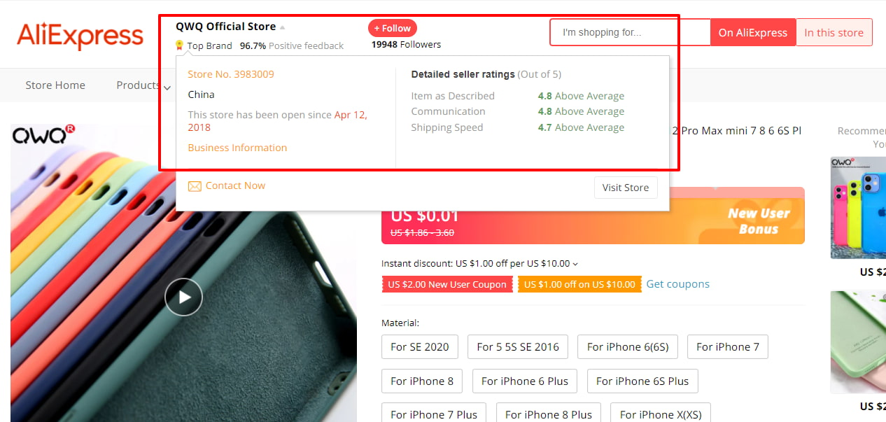 Seller's statistics on AliExpress – useful information for a dropshipping entrepreneur.