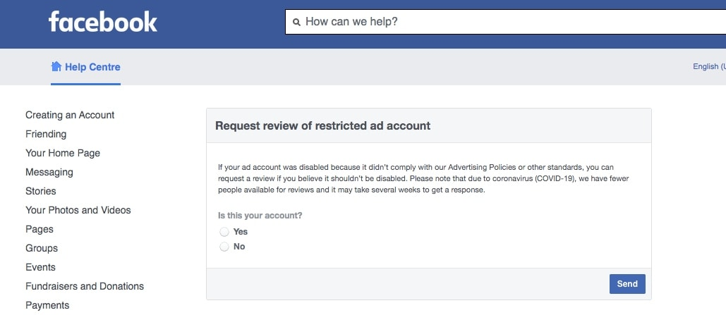 Screenshot of a Facebook Help Center page where you can ask to revive your ad account