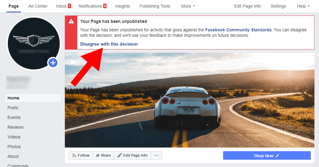 Screenshot of a Facebook message telling your business page was unpublished