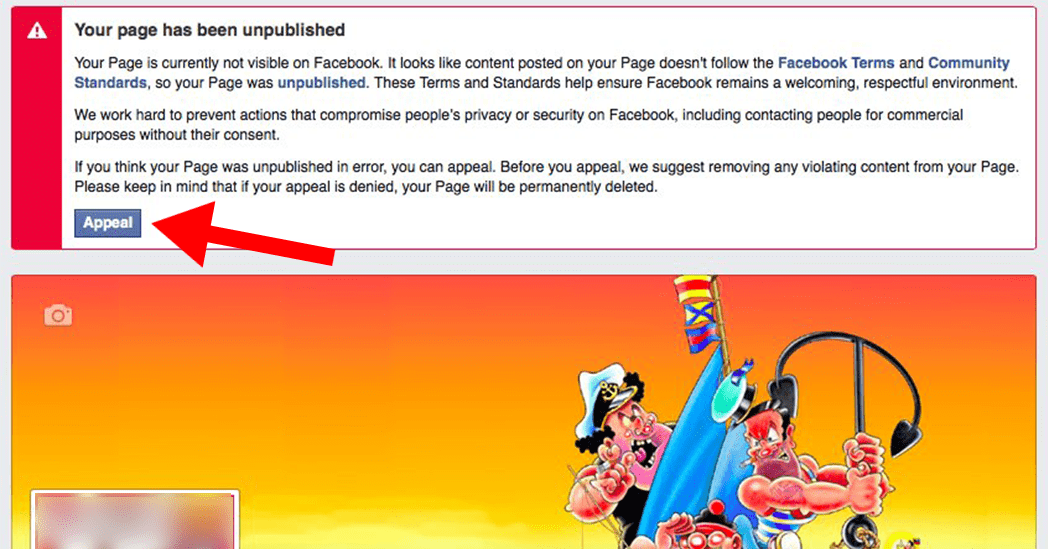 Another variant of a Facebook message telling your business page was unpublished