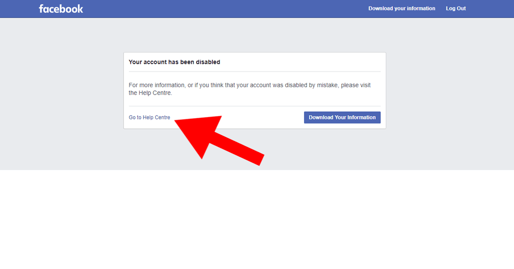 Go to Help Center if Facebook refuses to unlock your personal page