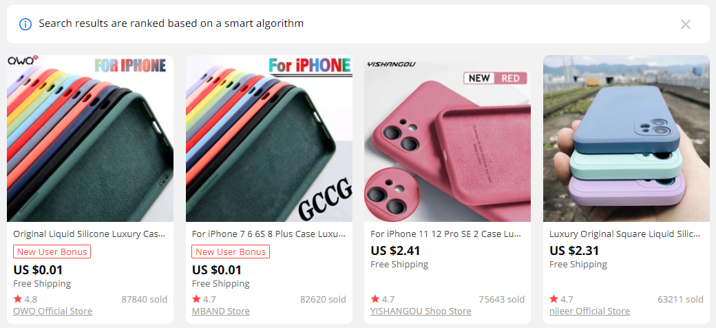 How to become a dropshipper: examples of popular dropshipping goods found on AliExpress.