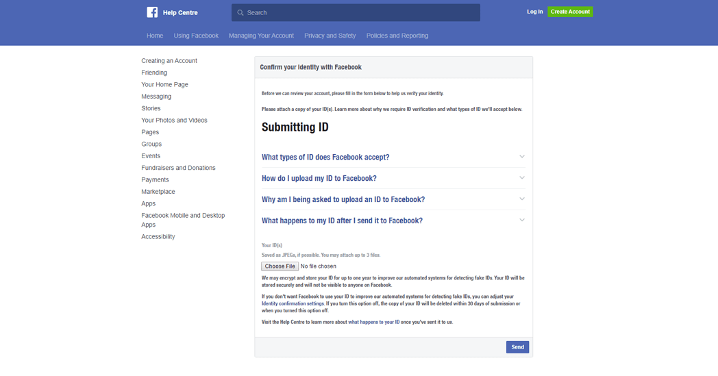 Facebook Help Center will ask you to submit your personal ID