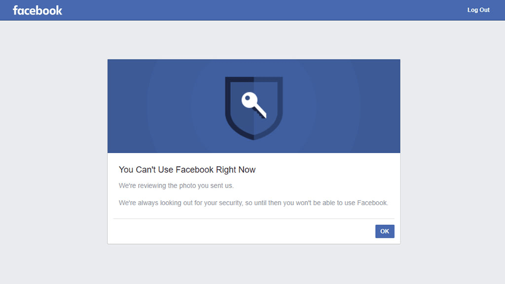 Screenshot of a Facebook message telling your personal information is being verified