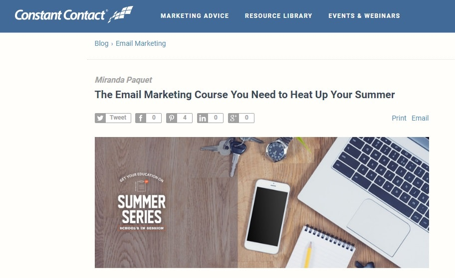 constant contact marketing course