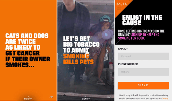 Snapchat ads example