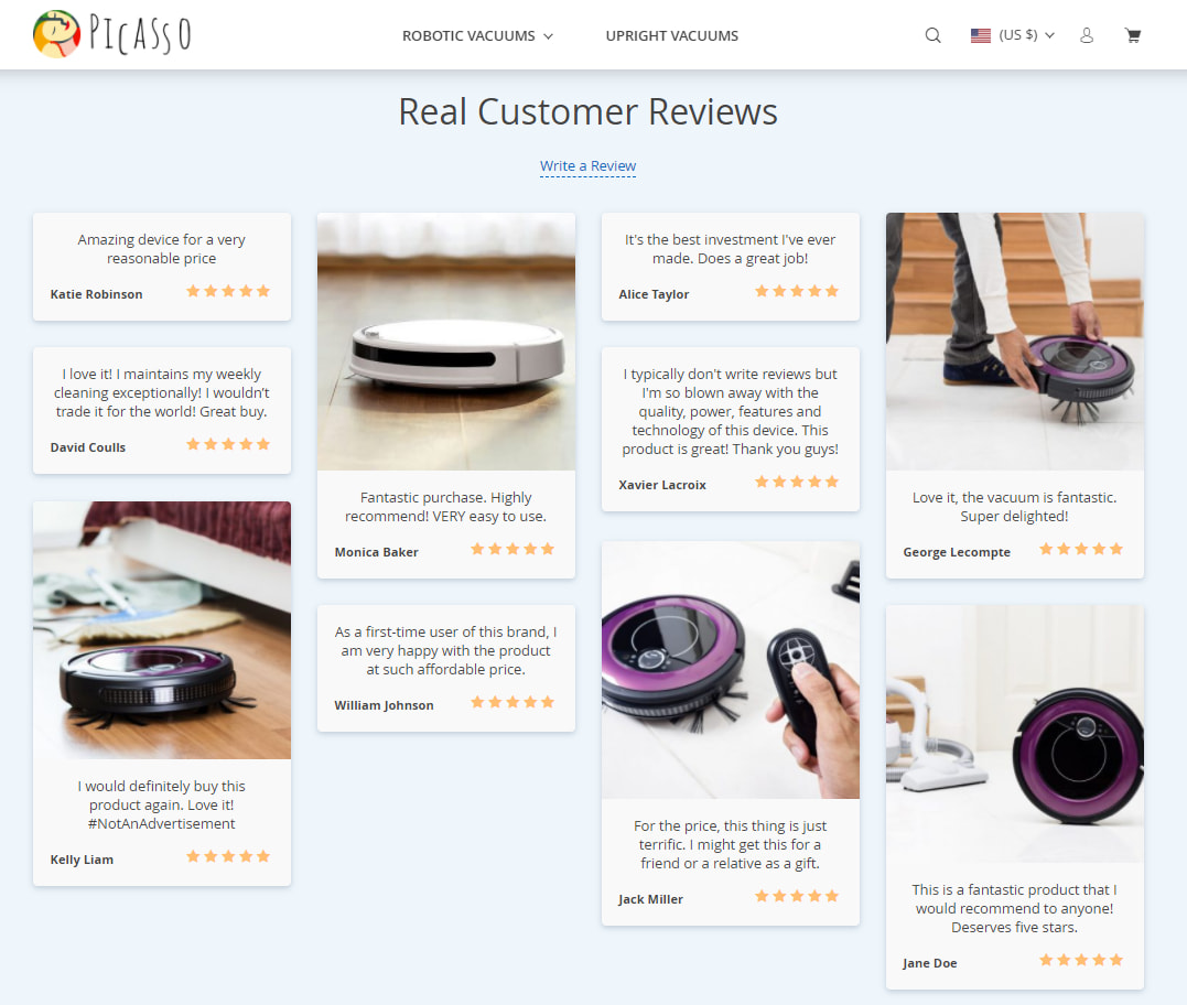 Real customer reviews are an important social proof element