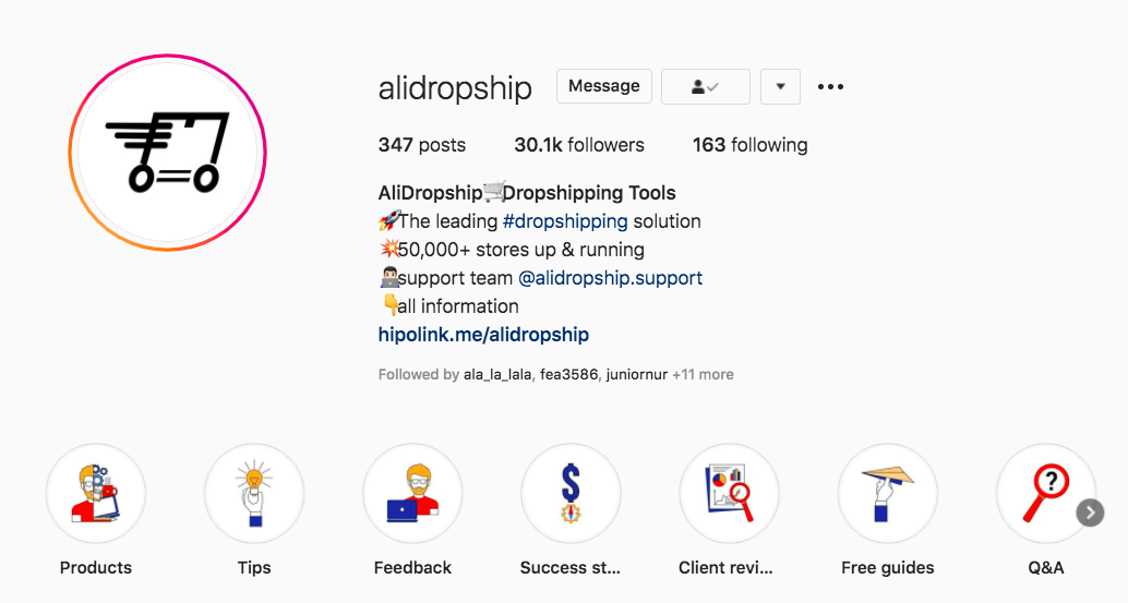 AliDropship's Instagram business profile