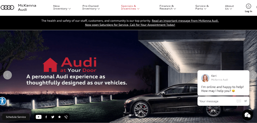 Audi home page example