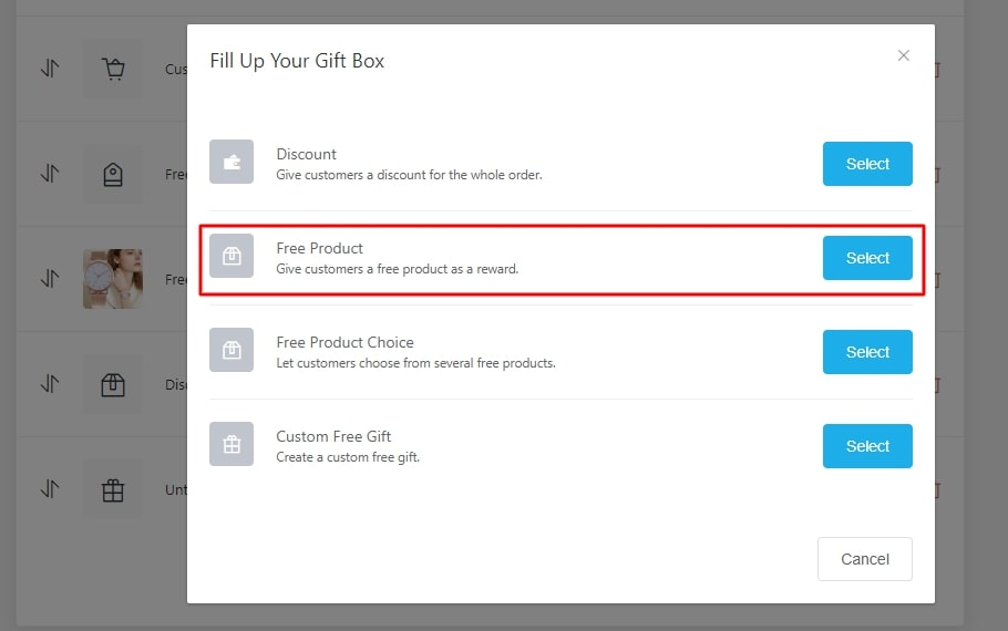 Creating a free product offer in the Gift Box add-on