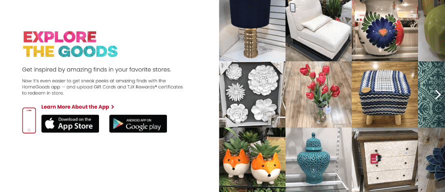 Home Goods homepage example