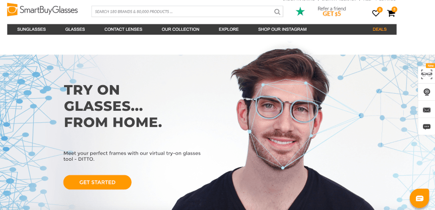 SmartBuyGlasses home page example