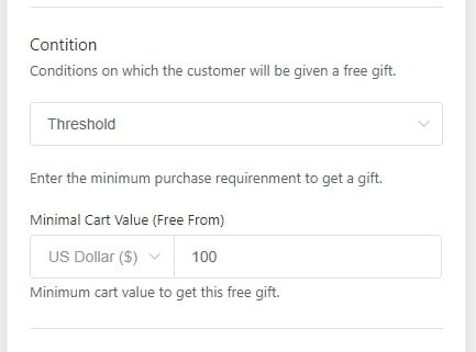 The Gift Box add-on conditions: threshold