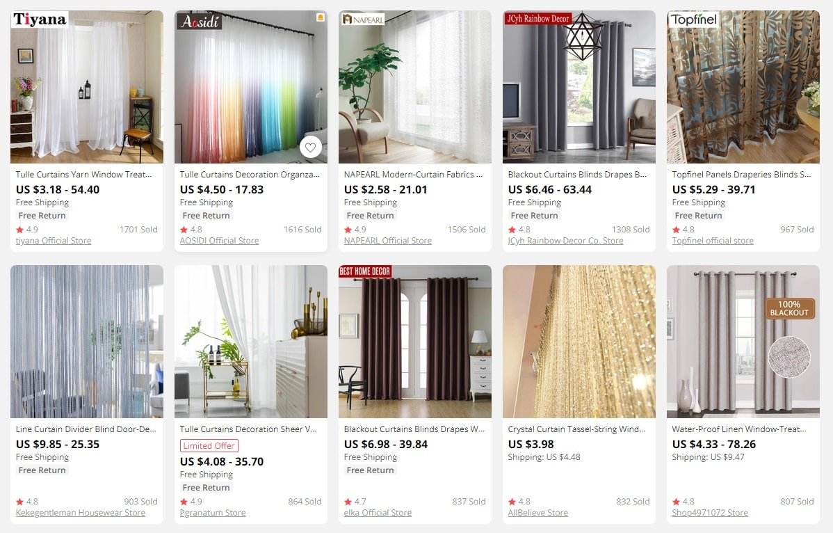 Curtains to sell