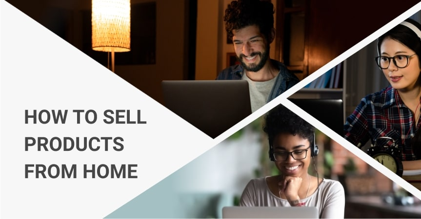 Happy people using laptops to sell products from home