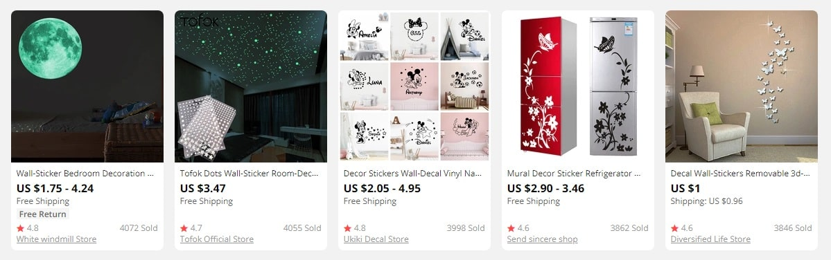 home decor dropshipping: wall stickers