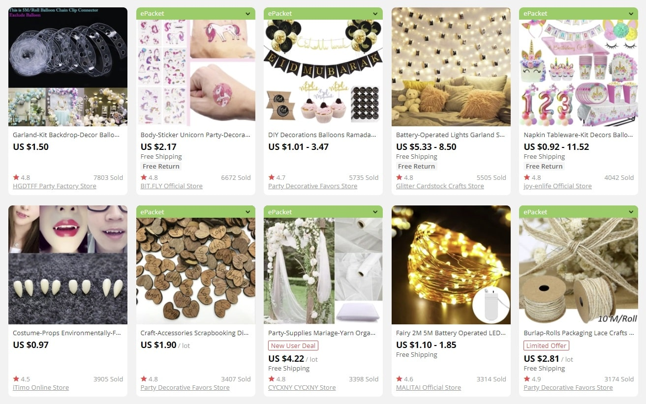 an image showing that party decorations have great ecommerce potential