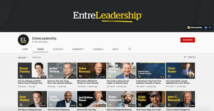 Entreleadership YouTube channel